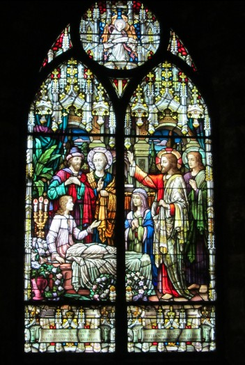 Jesus Raising the Daughter of Jairus (1923) Jacoby Art Glass of St Louis.