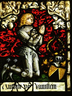 Heraldic panel German 1470s-1482 featuring a portrait of the kneeling Anton von Ramstein
