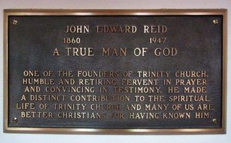 Memorial Tablet for John Edward Reid